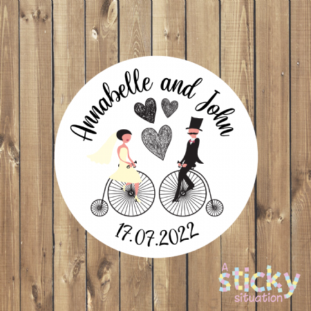 Personalised Wedding Favour Stickers - Penny Farthing Design